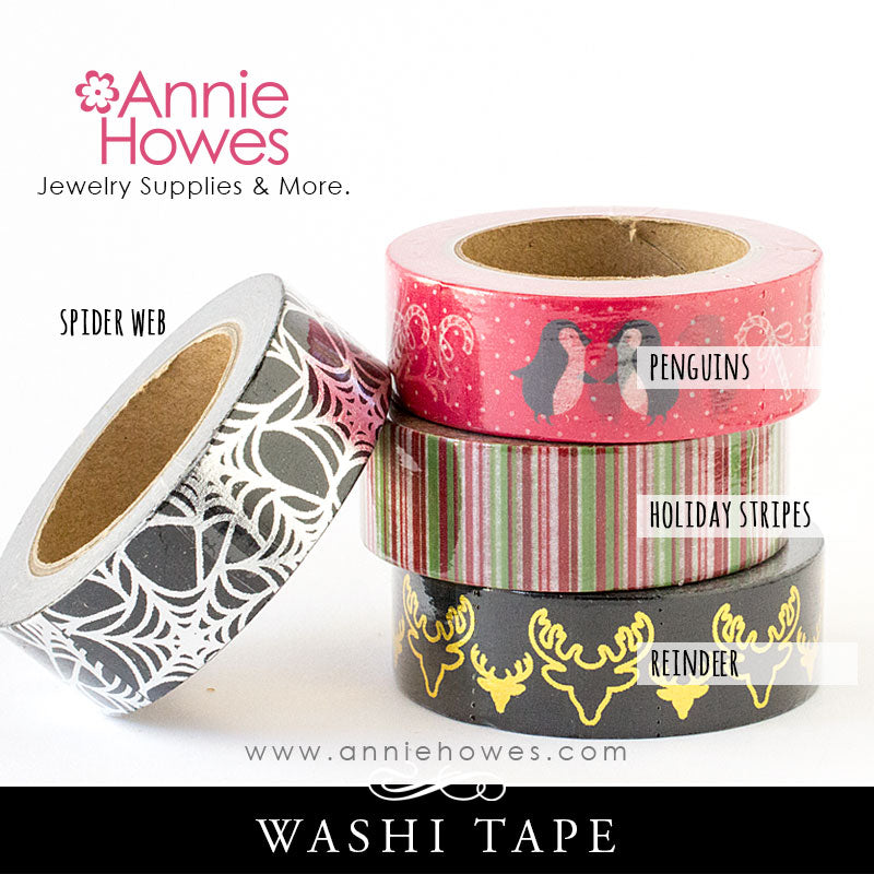 Washi Tape Halloween Spiderweb Christmas Penguins Reindeer Holiday Stripes