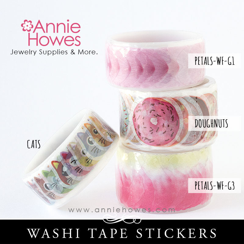 Washi Tape Stickers Kitty Cats flower Petals and Doughnuts