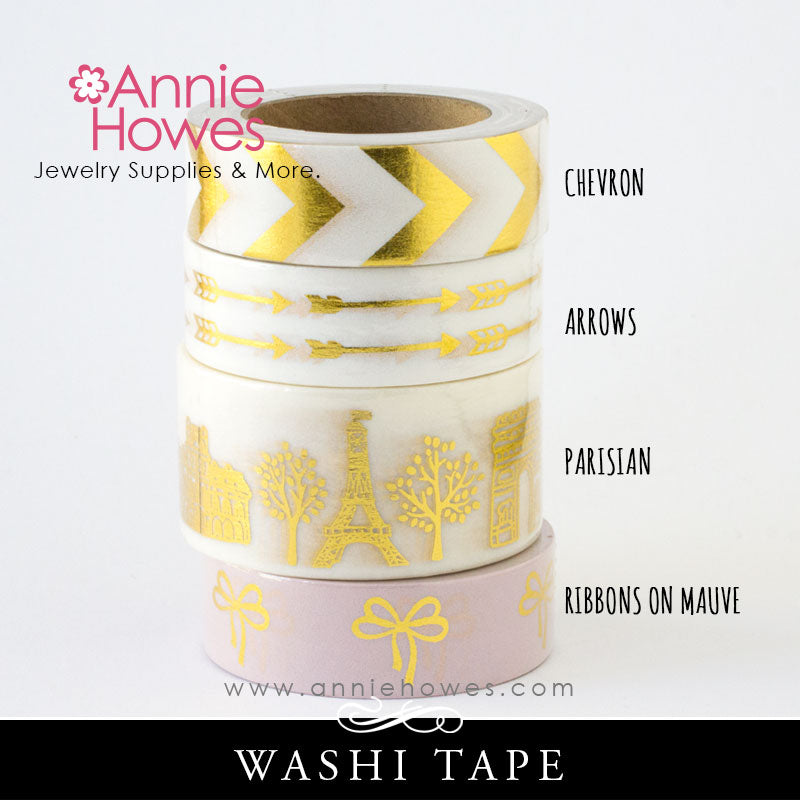 Washi Tape with Gold Foil Print - Chevron, Arrows, Parisian