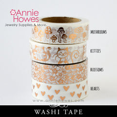 Washi Tape with Copper Foil Print - Mushrooms Toadstools, Kitty Cats, Hearts, or Blossoms