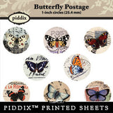 Piddix  - 1 Inch Collage Sheets - Butterfly Postage - Circle