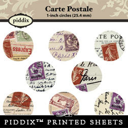 Piddix  - 1 Inch Collage Sheets - Carte Postale - Circle