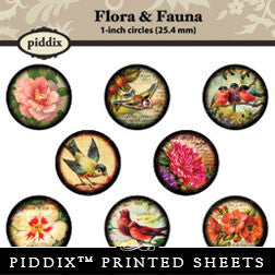 Piddix  - 1 Inch Collage Sheets - Flora & Fauna - Circle