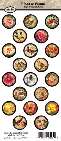 Piddix 1 Inch Collage Sheets Flora Amp Fauna Circle
