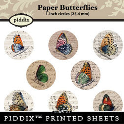 Piddix  - 1 Inch Collage Sheets - Paper Butterflies - Circle