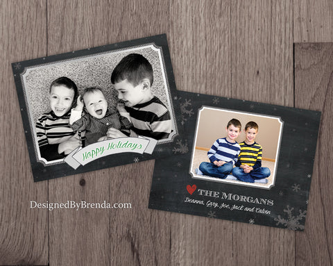 Chalkboard Style Christmas Photo Card with Room for Handwritten Message - Happy Holidays