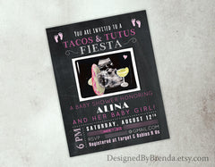 Chalkboard Tacos & Tutus Fiesta Baby Shower Invitation with Ultrasound, Sombrero & Margarita