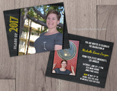 Chalkboard Style Graduation Party Invitation Card - Double Sided with Photos