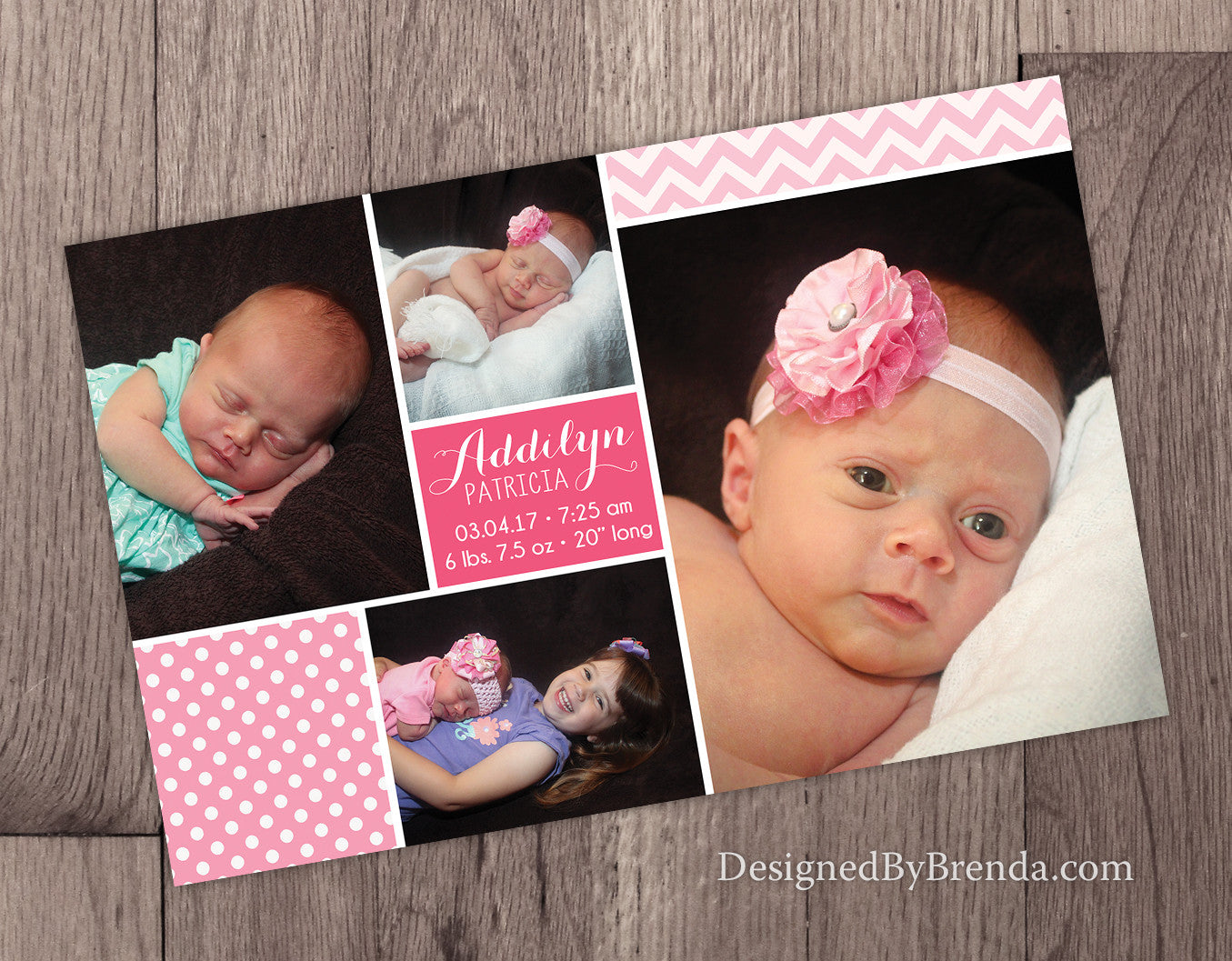 Baby Announcement Card with Custom Photo Collage - Pink Chevron & Polka Dots