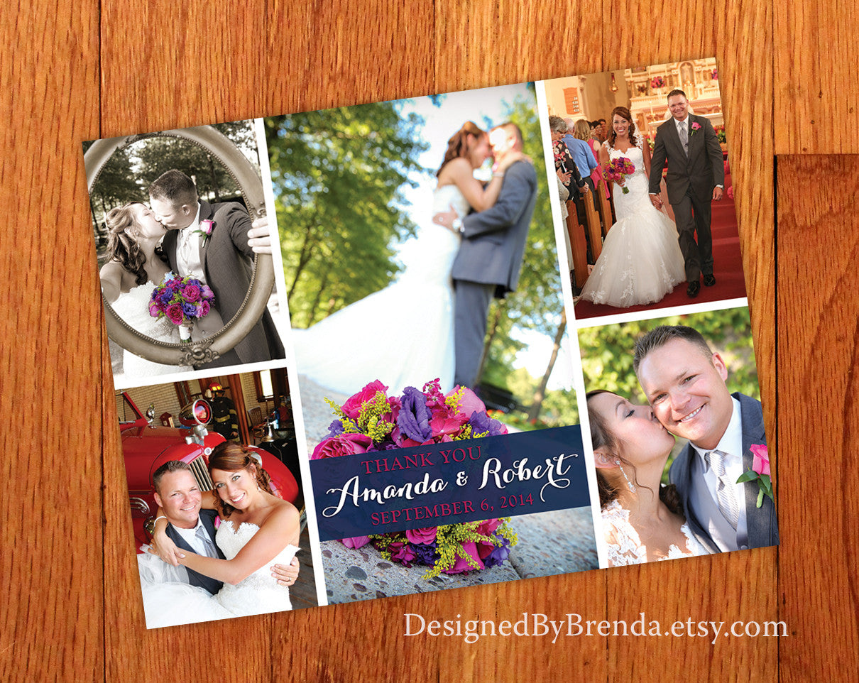 Wedding Thank You Photo Card - Photo Collage