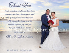 Nautical Wedding Thank You Card with Photo Collage - Double Sided Navy Blue