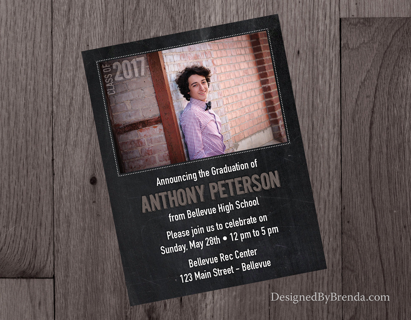 Chalkboard Style Graduation Party Invitations with One Horizontal Photo - Double Sided