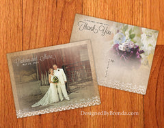 Burlap and Lace - Vintage Wedding Thank You Postcards