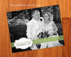 Wedding Thank You Postcards with Name Plaque and Banner