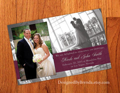 Large Wedding Announcement Postcard with Two Photos