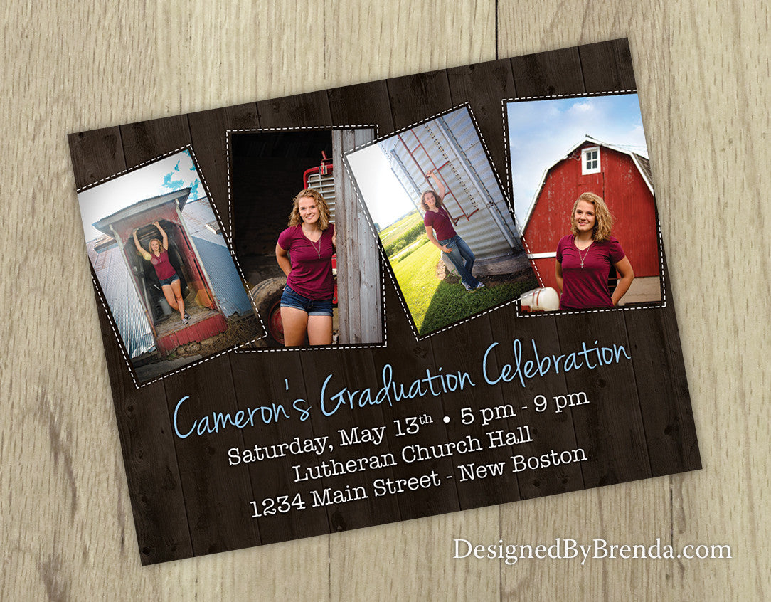 Rustic Graduation Party Invites With 4 Photos On Barnwood Background