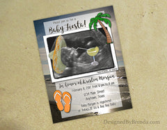 Tropical Baby Shower Invitation with Custom Ultrasound Image - Fiesta Beach Party Invite