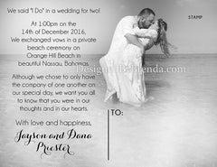Modern Wedding Announcement Postcard - Double Sided with Photos