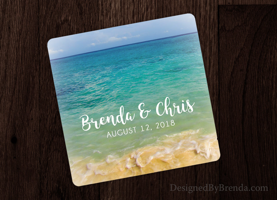 Beach Wedding Favor Paper Coaster with Couple's Names and Wedding Date