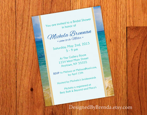 Tropical Beach Bridal Shower Invitation