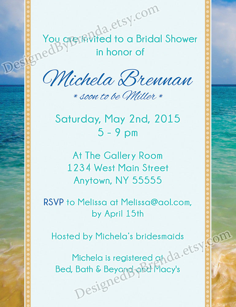 Tropical Beach Bridal Shower Invitation Designed By Brenda – Beach Wedding Shower Invitations