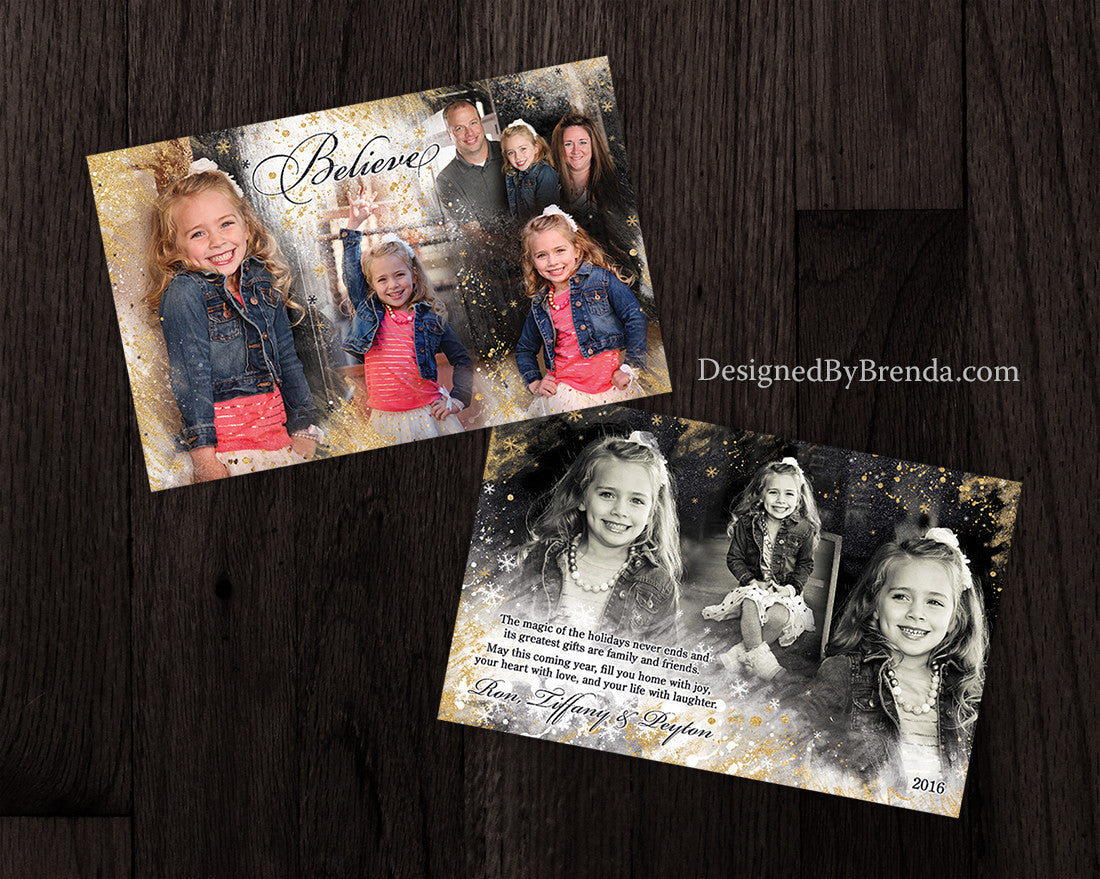 Blended Metallic Gold Holiday Card with Beautiful Photo Collage - Double Sided, Unique, Artisic Look