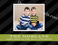 Double Sided Holiday Cards with Photos - Traditional Feel - Black, White & Green