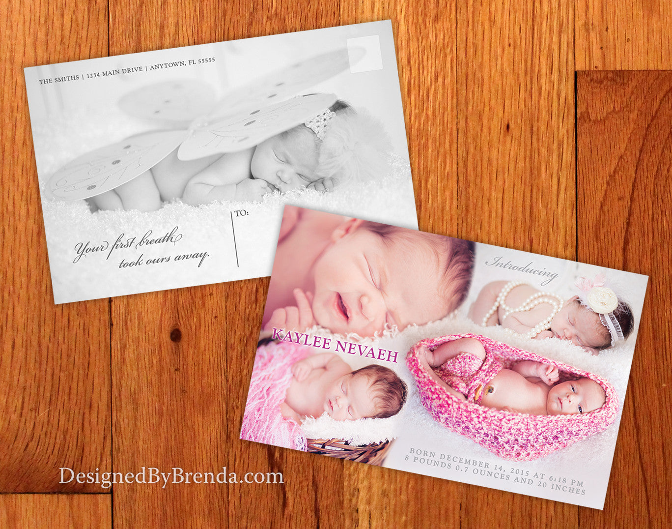Birth Announcement with Blended Photo Collage and Postcard Back - For Baby Girl or Boy