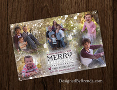 Christmas Card with Custom Blended Photo Collage and Abstract Snowflakes