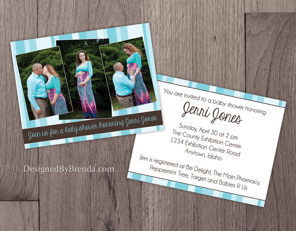 Double Sided Baby Shower Invitations with 3 Pregnancy Photos - Blue & Brown