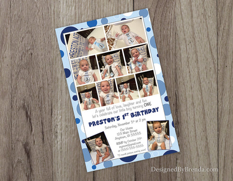 Large 1st Birthday Party Invitation with Custom Photo Collage Timeline - Blue Polka Dots