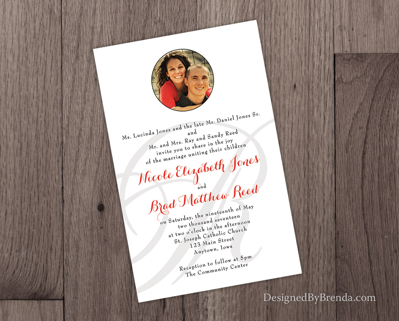 Simple Wedding Invitations with Photo and Letter Monogram Watermark - Red, Black & White