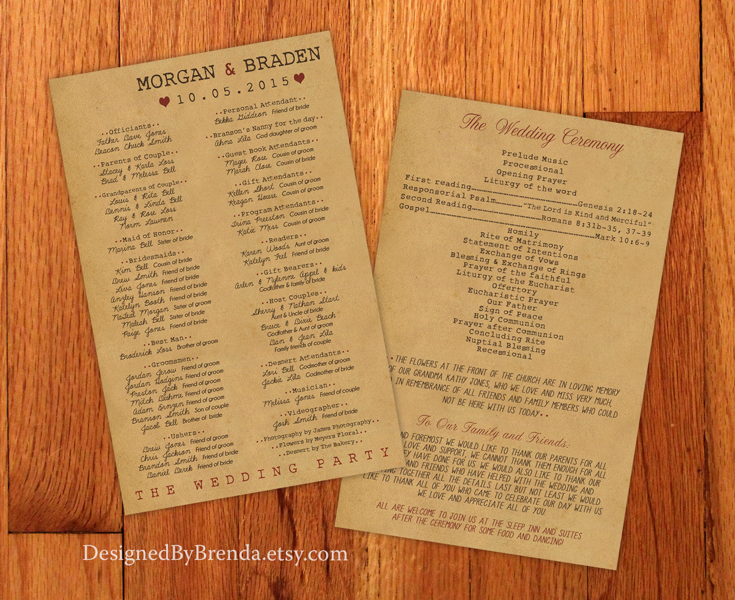 Large Vintage Style Wedding Programs - Double Sided with Rustic Kraft Paper Look