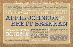 Rustic Wedding Invitation with Burlap Border - Vintage Navy Blue & White