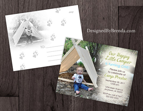 Camping Birthday Party Invitation - Double Sided with Tent Photos