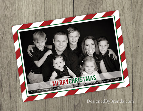 5x7 Christmas Card with Photo and Candy Cane Striped Border