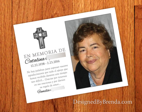 Religious Memorial Thank You Card with Photo - Custom Remembrance Memento for Sympathy or Funeral