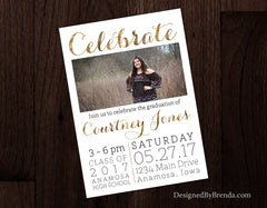 Modern Graduation Party Invitation with Photo - CELEBRATE in Faux Metallic Gold