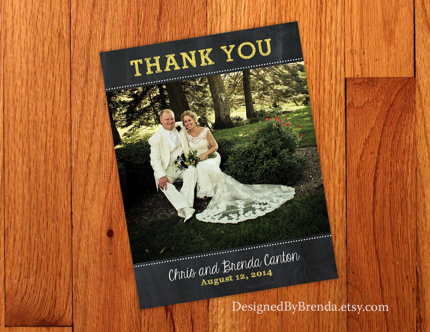 Chalkboard Wedding Thank You Postcards