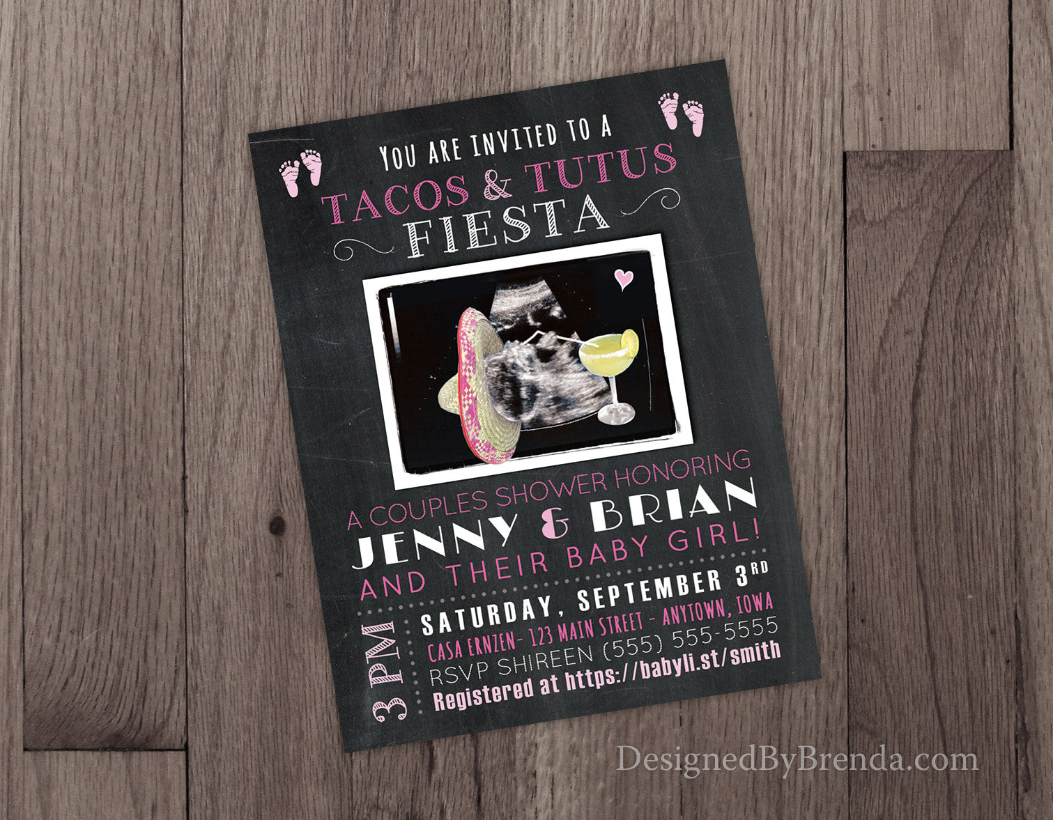 Chalkboard Tacos & Tutus Fiesta Baby Shower Invitation with ...