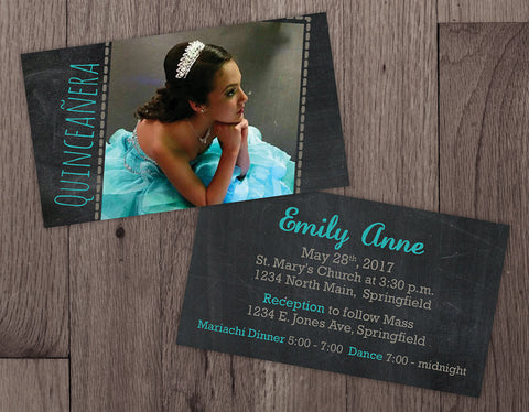 Mini Quinceañera or Sweet 16 Birthday Party Invitations - Double Sided with Photo