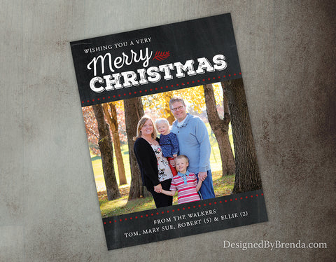 Chalkboard Style Christmas Card with Large Family Photo - Red and White Holiday