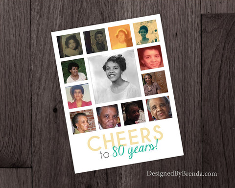 Cheers to 80 years - Birthday Party Invitation with Modern Photo Collage