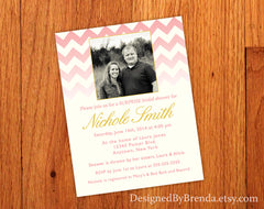 Pink Chevron Bridal Shower Invitation with engagement photo