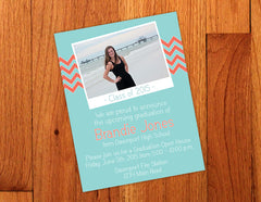 Aqua & Coral Chevron Graduation Party Invitation Postcard with Photo