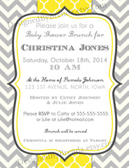 Grey Chevron and Yellow Quatrefoil Wedding or Baby Shower Invitations