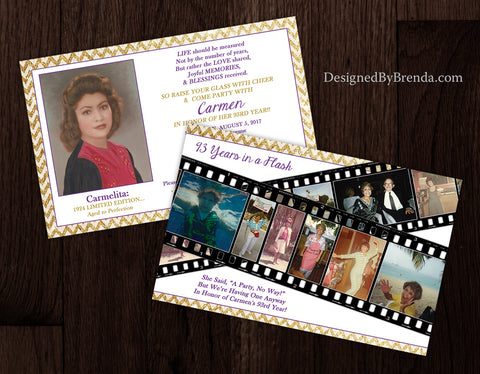 Flashy Gold Chevron Birthday Invitation - Double Sided with Filmstrip Photo Collage