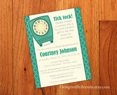 Time of Day or Round the Clock Bridal or Baby Shower Invitation - Turquoise Quatrefoil