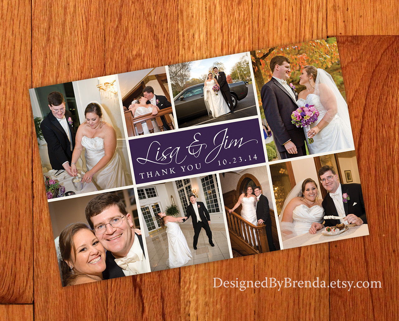 Modern Wedding Thank You Card with Several Photos - Custom Designed Template