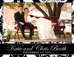 Black & White Damask Wedding Thank You Cards